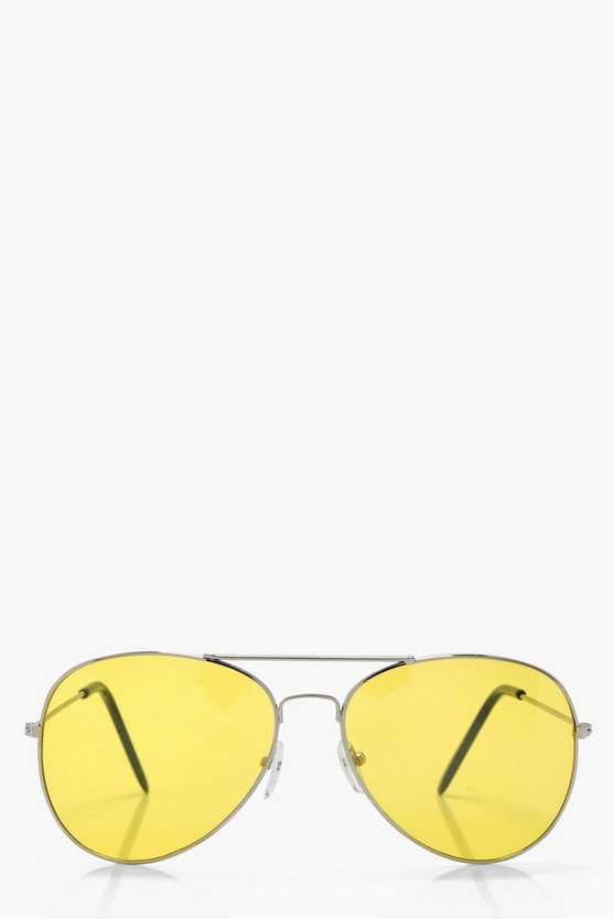 Eliza Yellow Lens Aviator Sunglasses