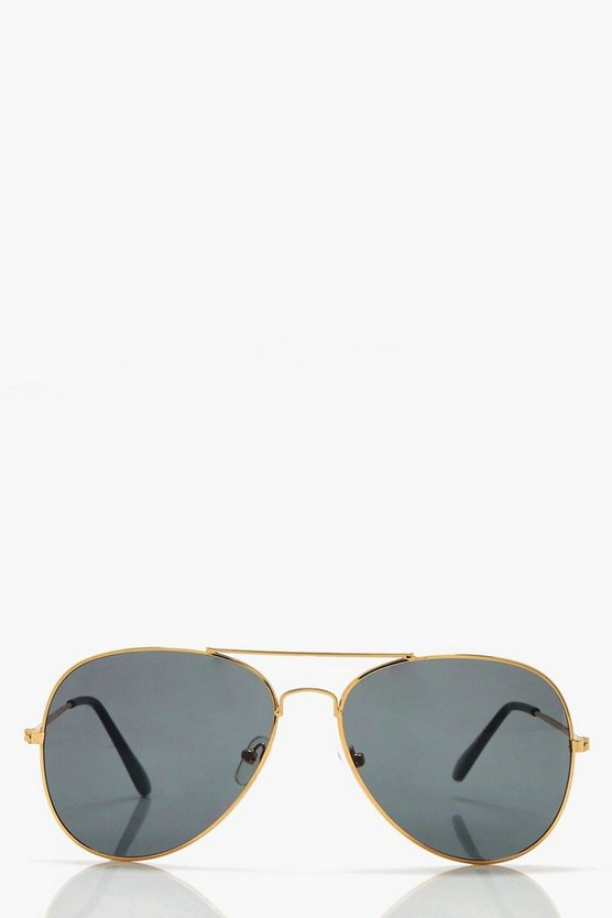 Emily Black Lens Aviator Sunglasses