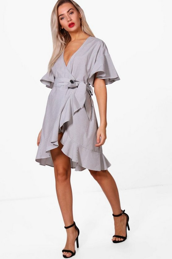Olivia Frill Detail Wrap Over Dress