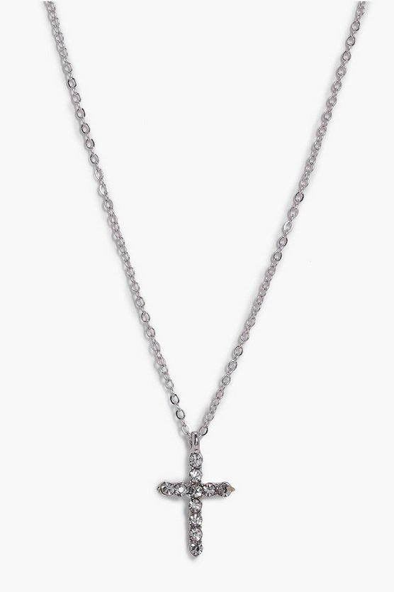 Isla Diamante Cross Detail Skinny Necklace