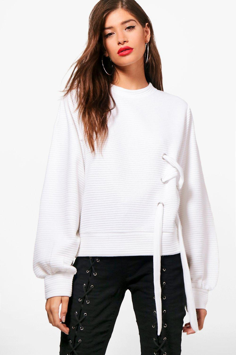 chelsea eyelet detail sweater top | boohoo