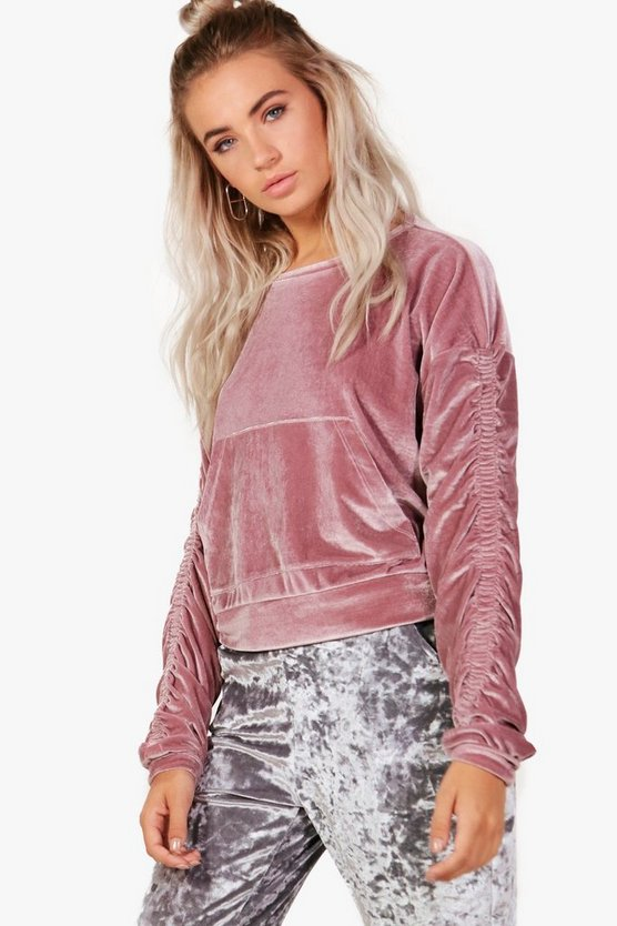Velvet Ruched Sleeve Crop Sweat