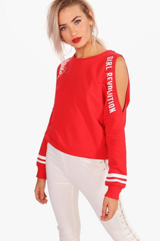 Jane Cold Shoulder Slogan T-Shirt