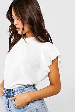 Bluse aus Webmaterial mit Rüschenärmeln und -kragen - Boohoo.com