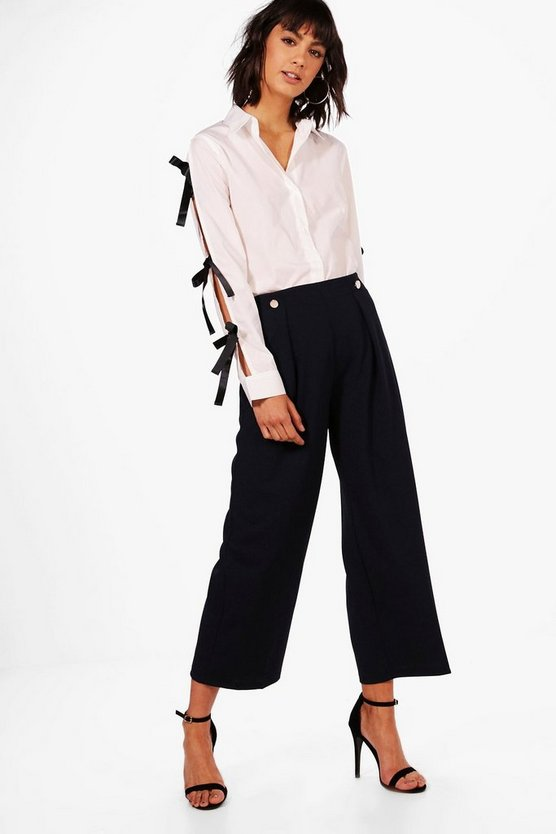 Paige Button Front Wide Leg Trouser