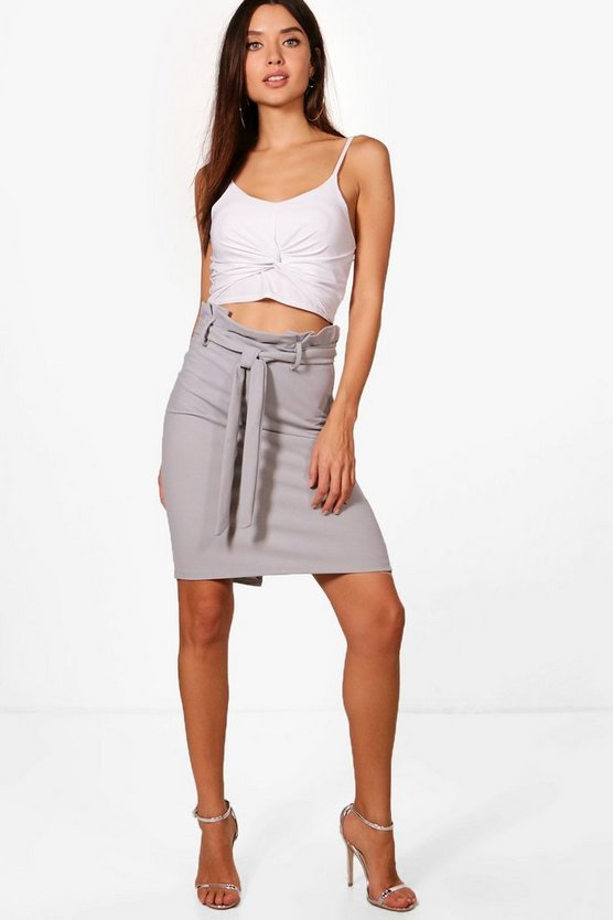 Hillary Tailored Paper Waist Mini Skirt