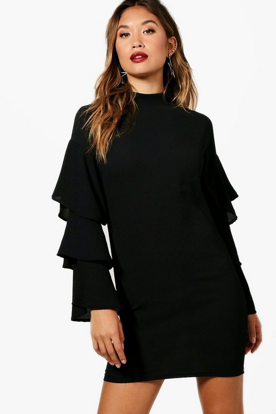 Nicole Ruffle Sleeve Shift Dress