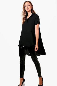 Olivia Button Bluse mit Hemd mit verlängertem Saum - Boohoo.com