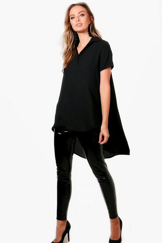 Olivia Button Dip Hem Shirt Blouse