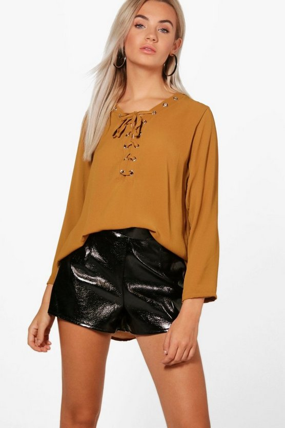 Eyelet Lace Up Blouse