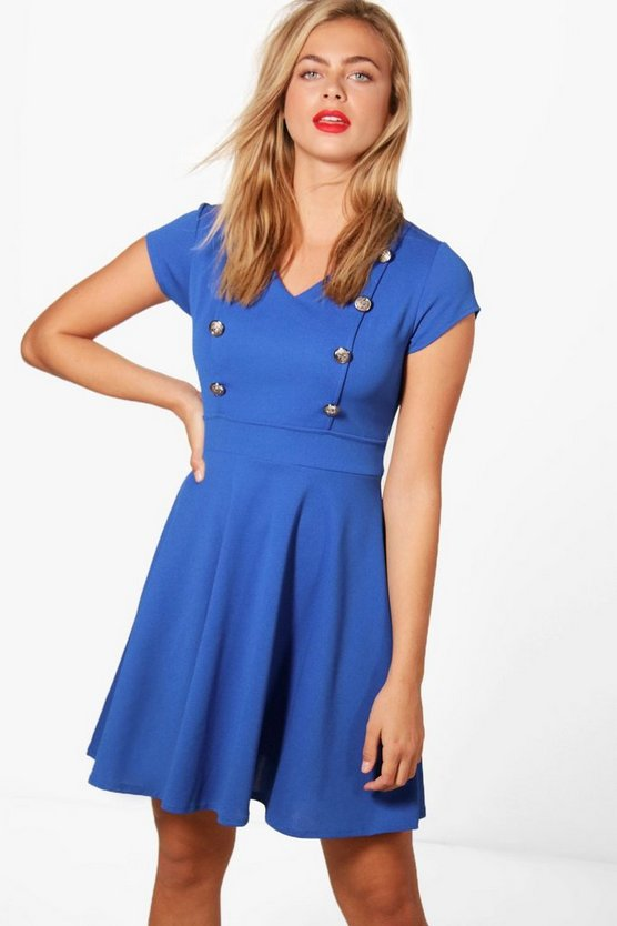 Military Button Tailored Skater Dress
