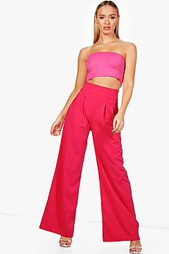 boohoo zoe pleat front wide leg high waist trouser