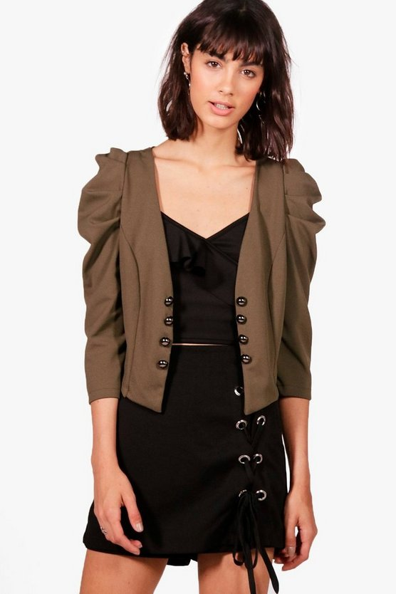 Hannah Puff Sleeve Military Jacket