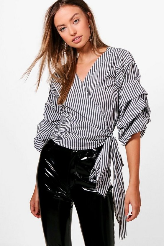 Stripe Ruffle Sleeve Wrap Shirt