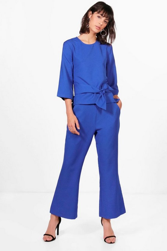 Premium Pia Tie Front Top and Flare Trouser