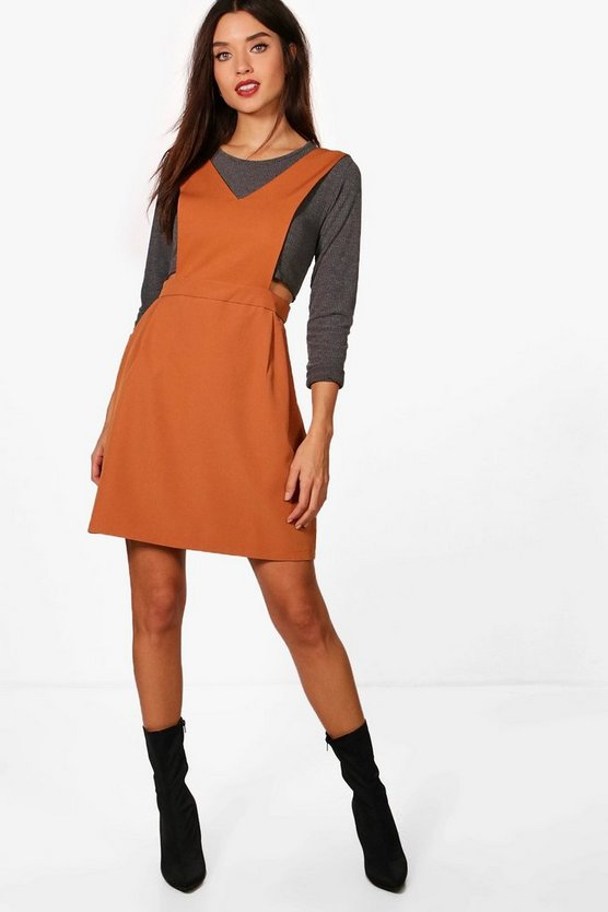 Karina Tailored Pleated Pinafore Dress