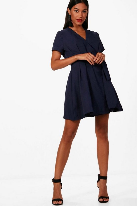 Woven Pleated Wrap Skater Dress