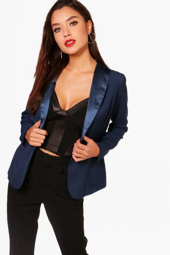 Immie Satin Lapel Blazer
