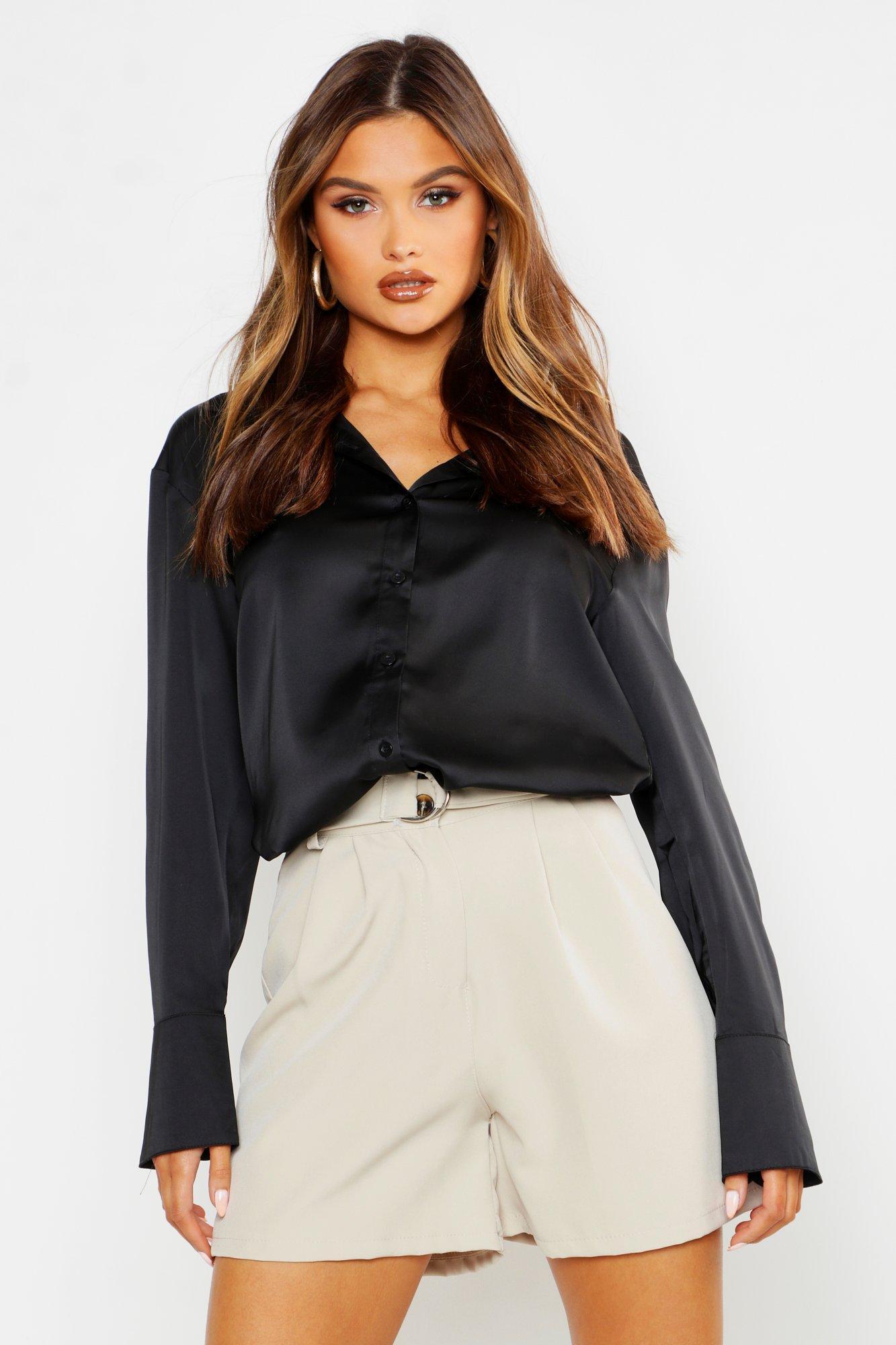 Womens Premium-Hemd in Satin-Optik - black - 36, Black - Boohoo.com