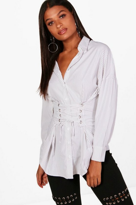 Lisa Stripe Corset Front Shirt