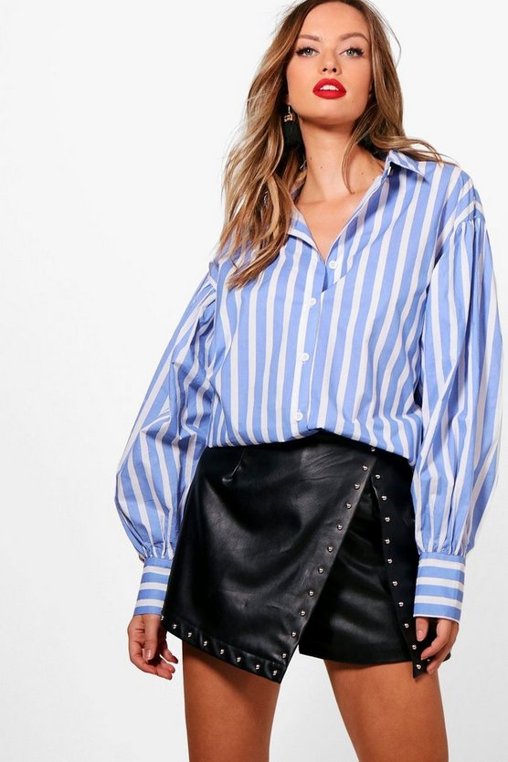 Angela Candy Stripe Balloon Sleeve Shirt