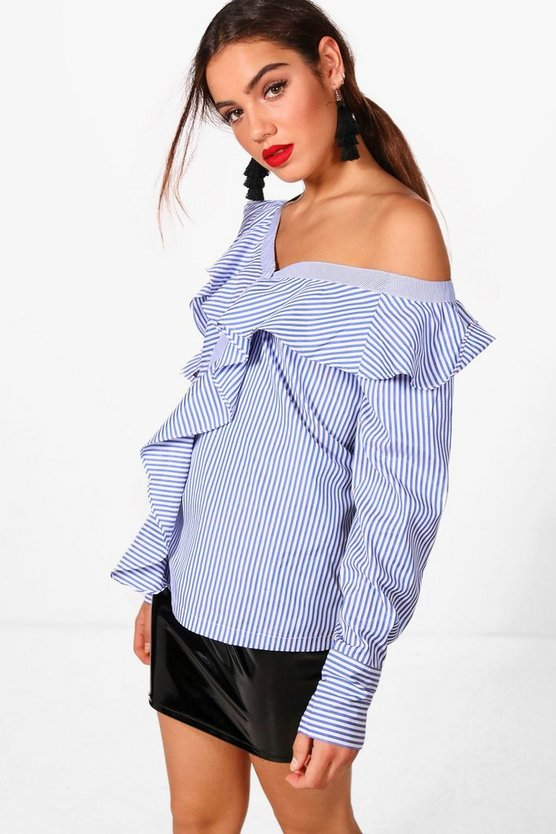 Jodie Stripe One Shoulder Frill Shirt