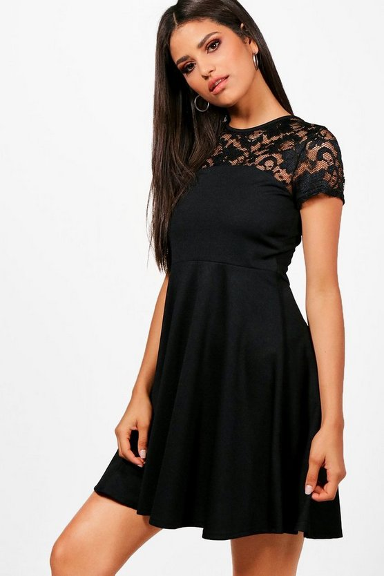 Lottie Lace Detail Skater Dress