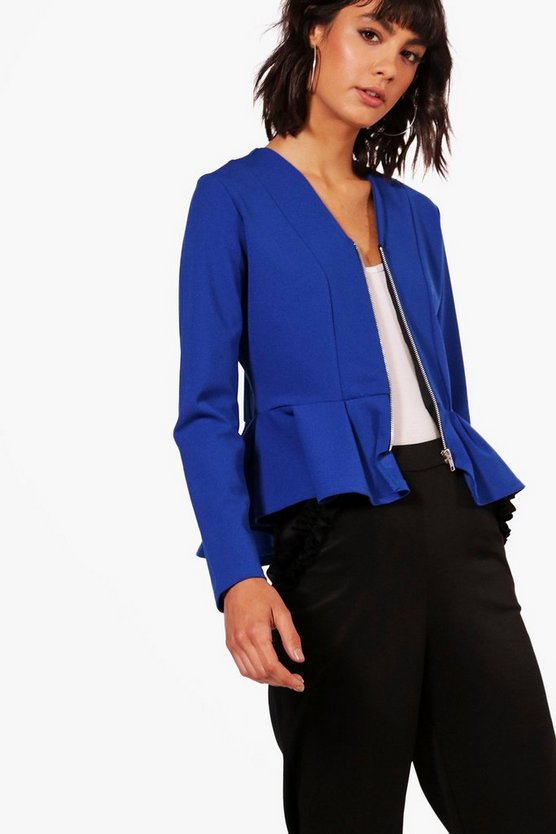 Katie Zip Up Peplum Jacket