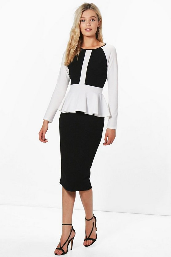 Gracie Peplum Contrast Panel Midi Dress