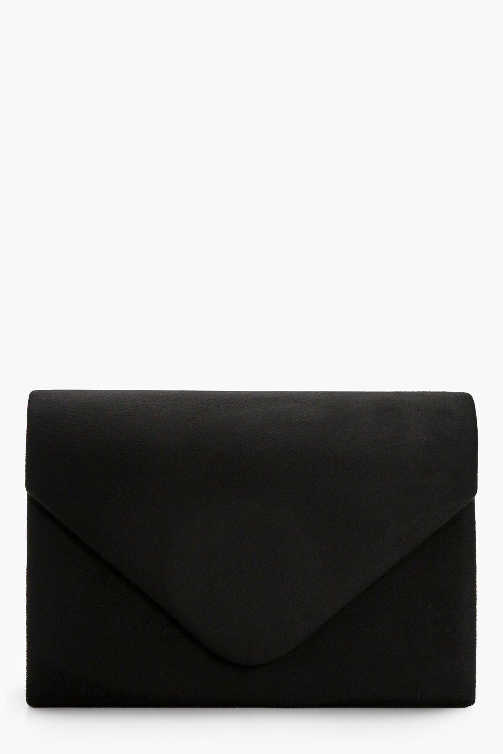 Suede Envelope Clutch - black - Amelia Suede Envel