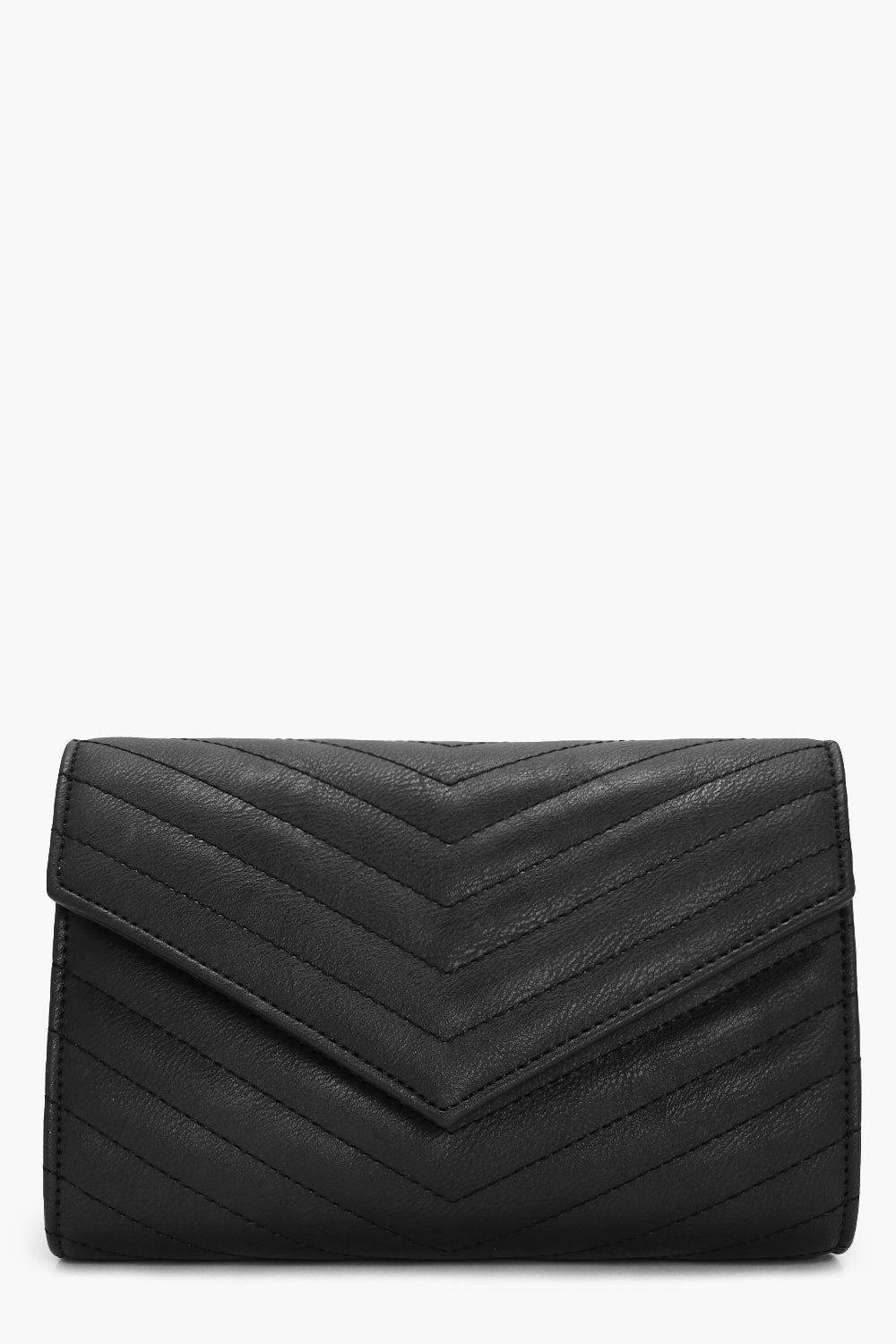 Quilted Envelope Clutch - black - Zoe Quilted Enve