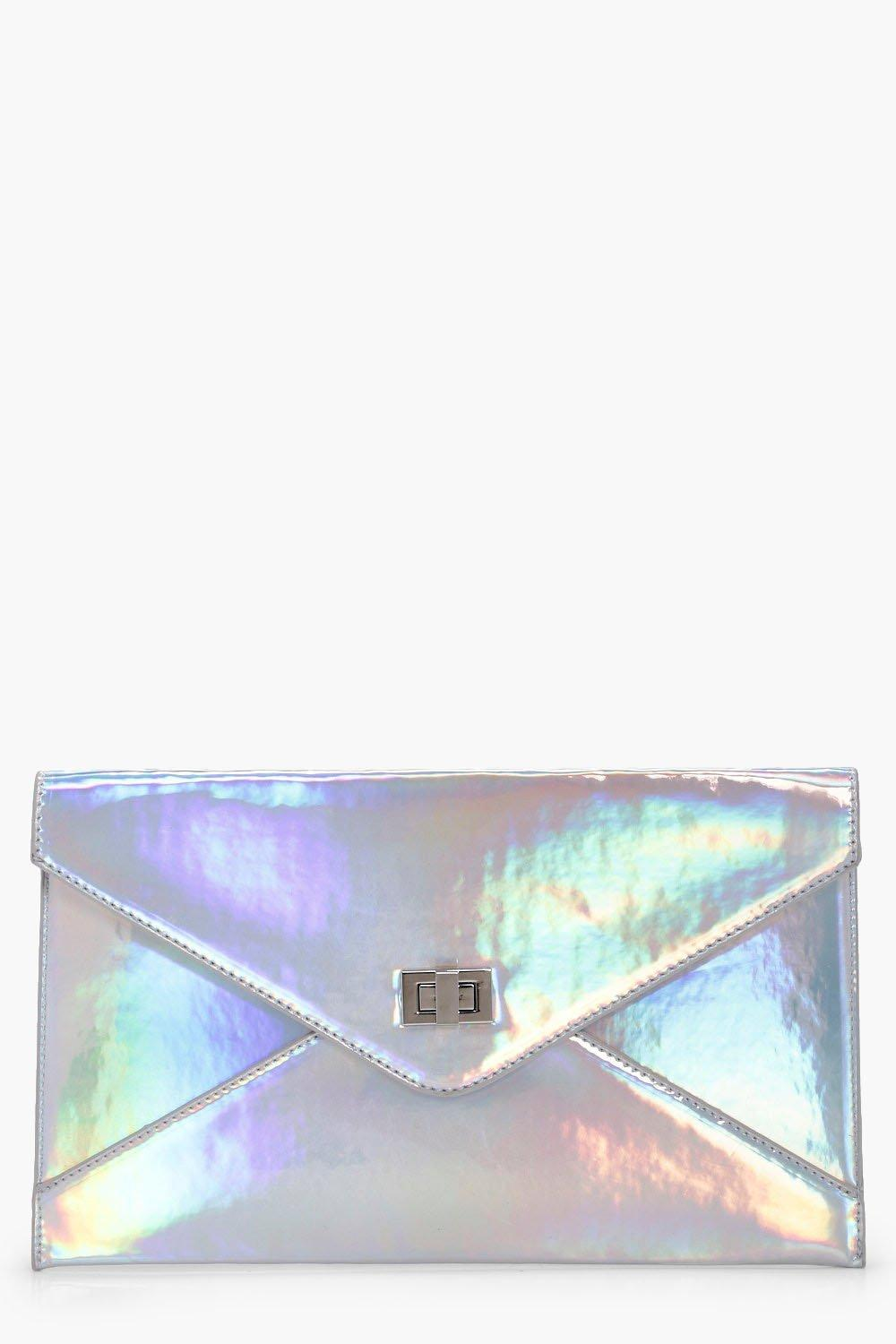 Holographic Envelope Clutch - silver - Alex Hologr