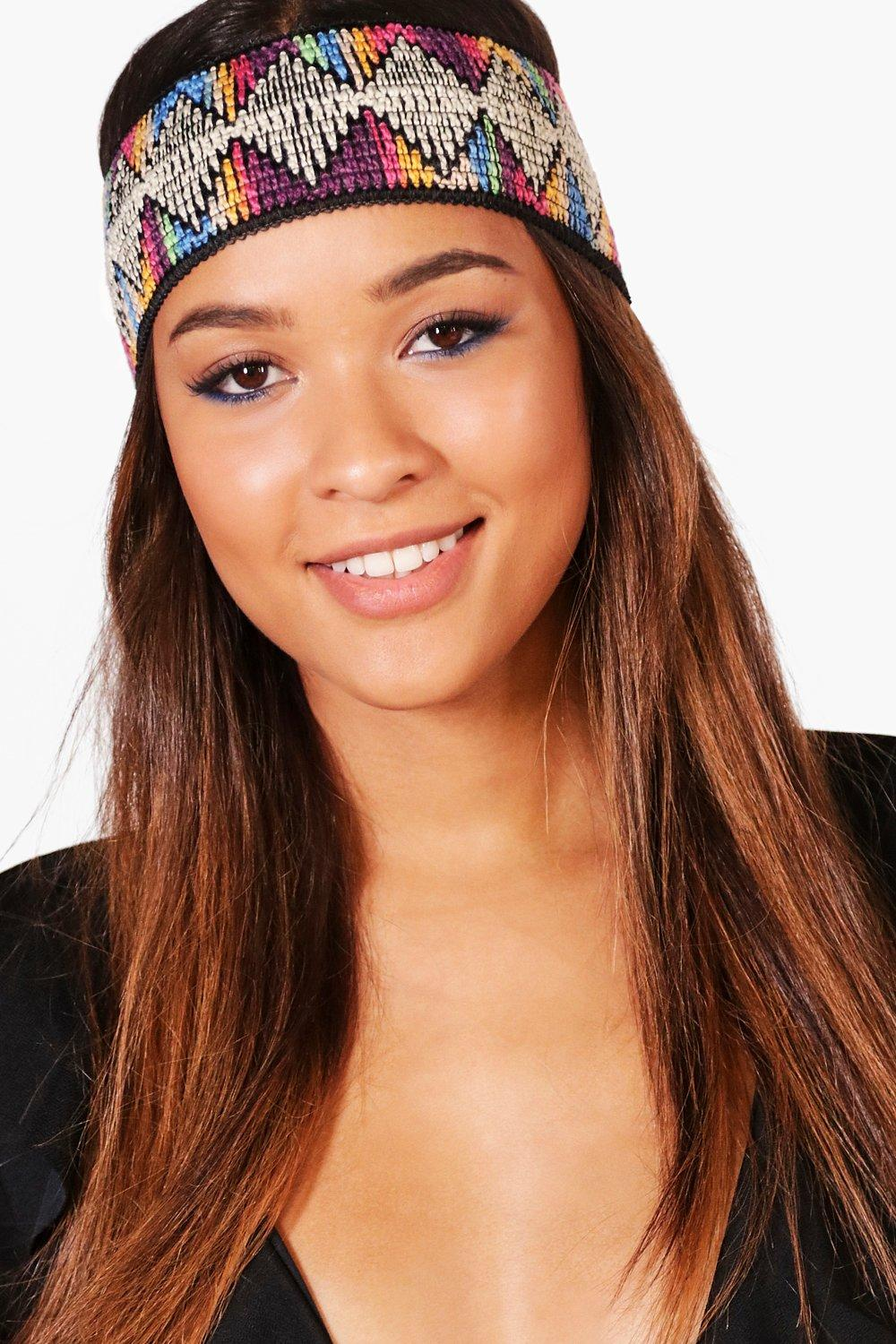 Aztec Print Stretch Headband - black - Megan Aztec