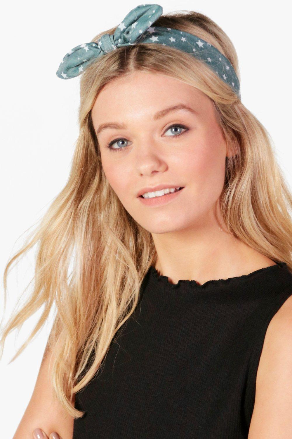 Star Print Bow Tie Headband - green - Ellie Star P