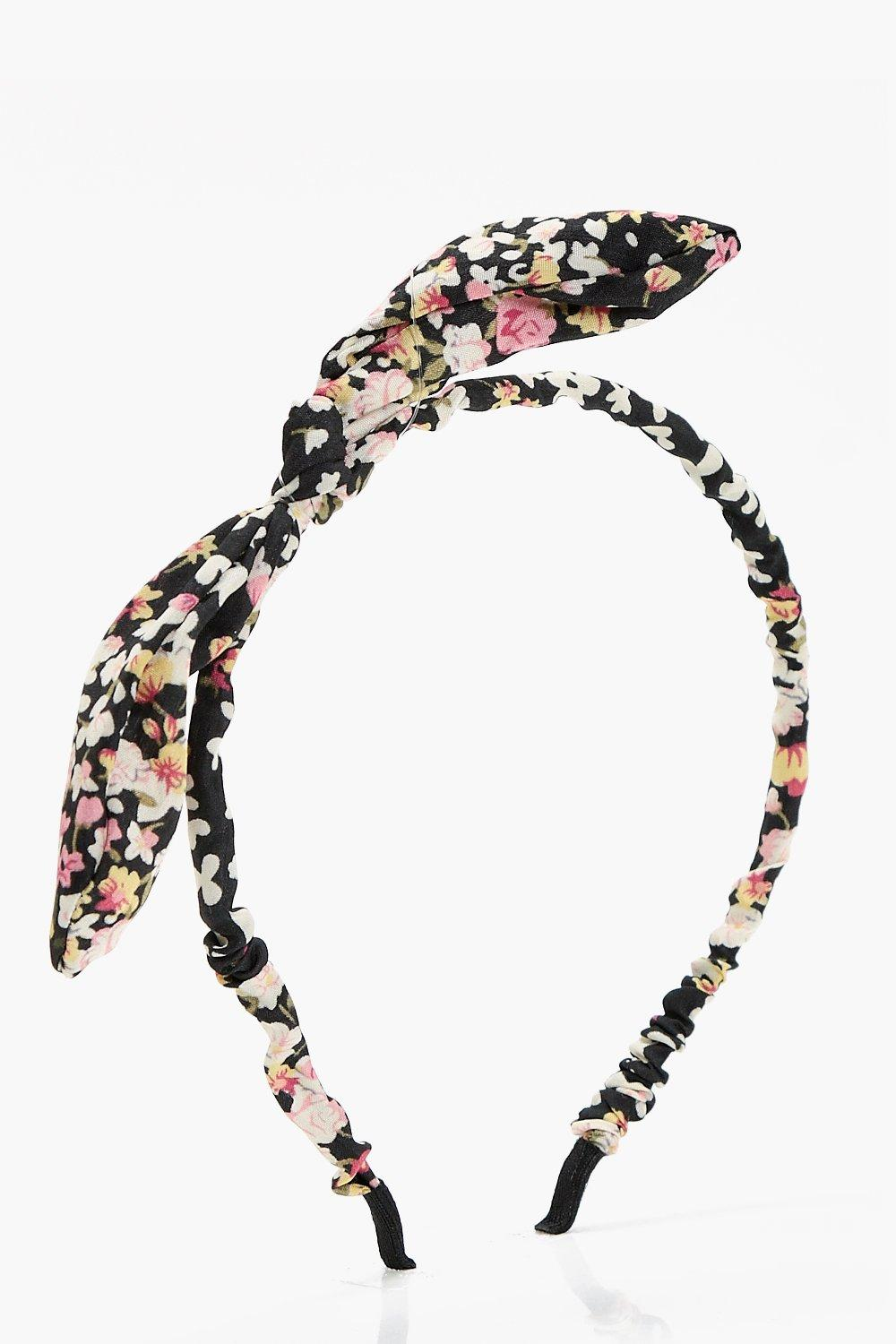 Bow Detail Floral Headband - black - Megan Bow Det