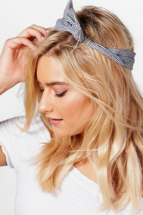 Hannah Gingham Check Bend Tie Headscarf