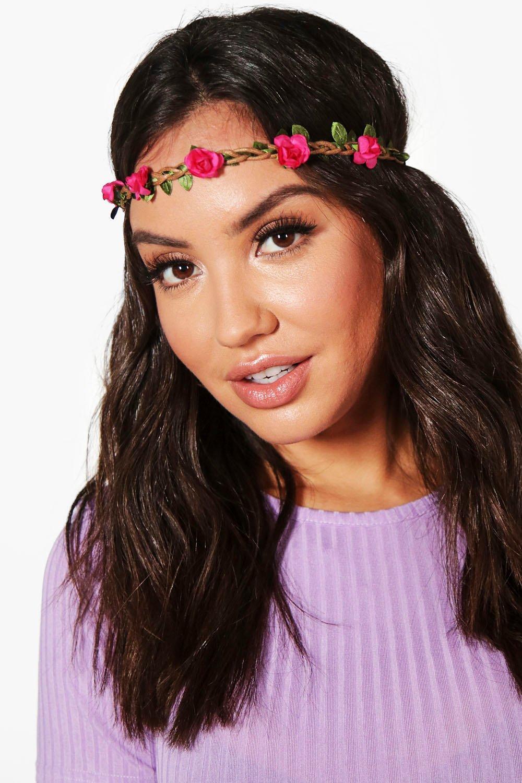 Plaited Floral Headband - fushia - Megan Plaited F