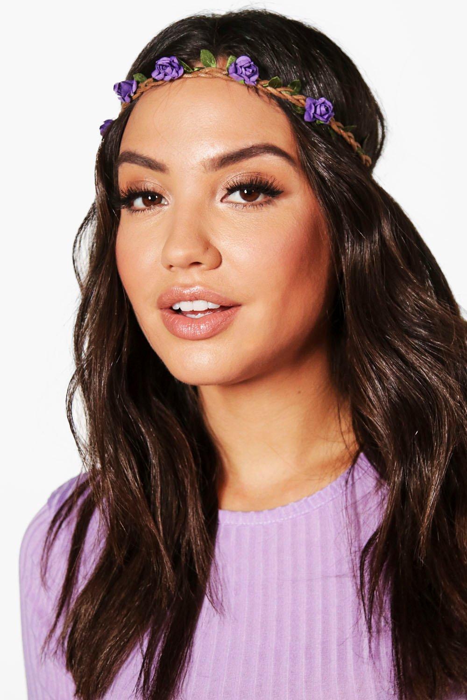 Plaited Floral Headband - purple - Megan Plaited F