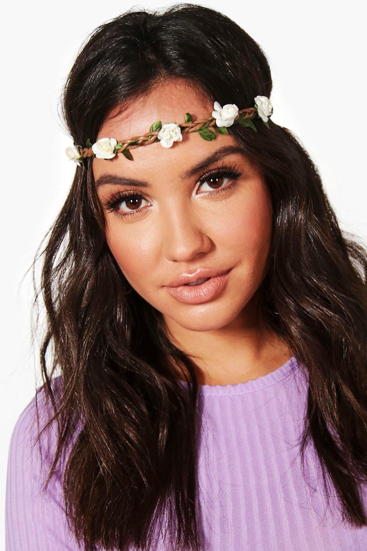 Plaited Floral Headband - white - Megan Plaited Fl