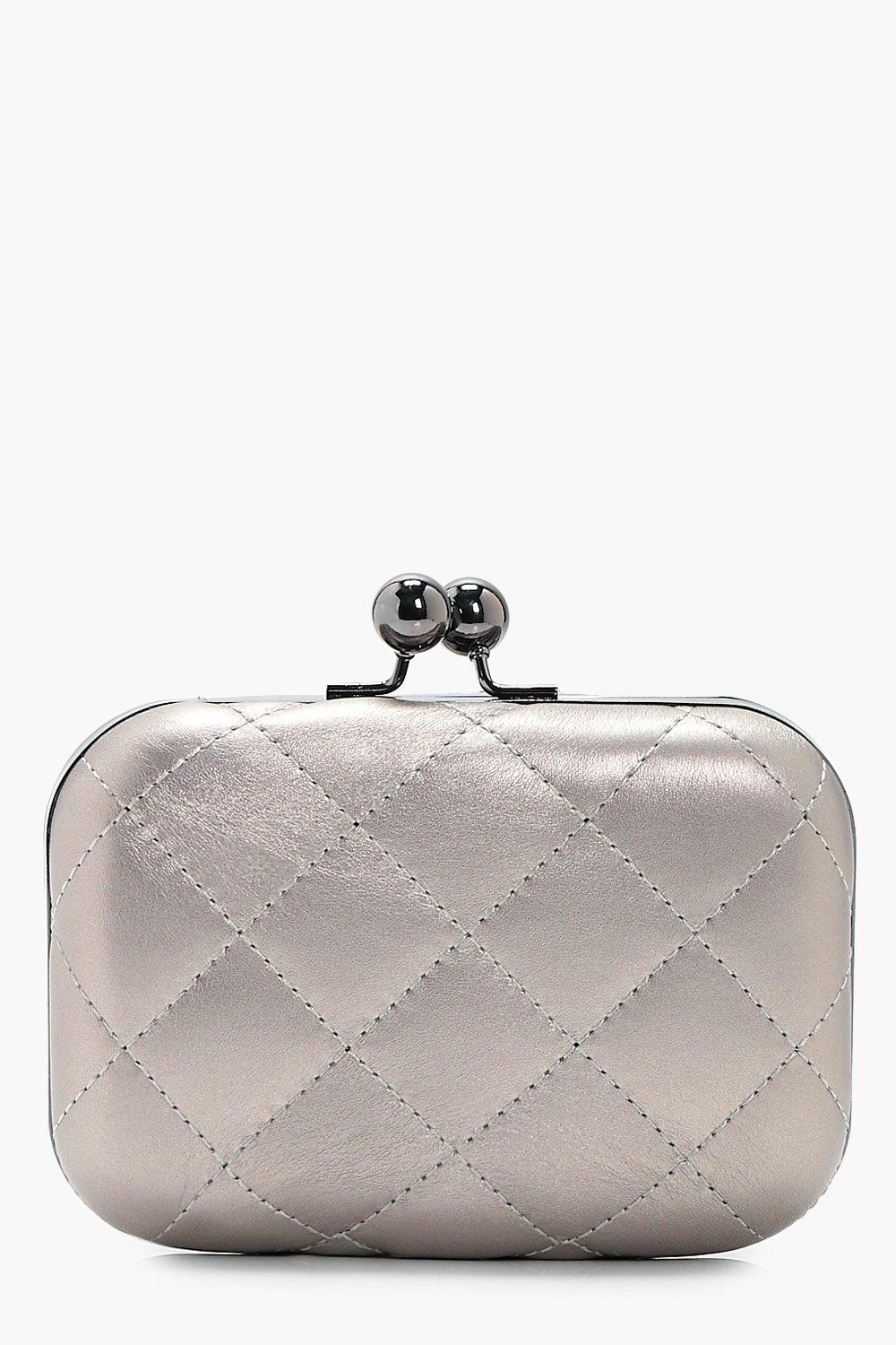 Quilted Box Clutch - silver - Anna Quilted Box Clu