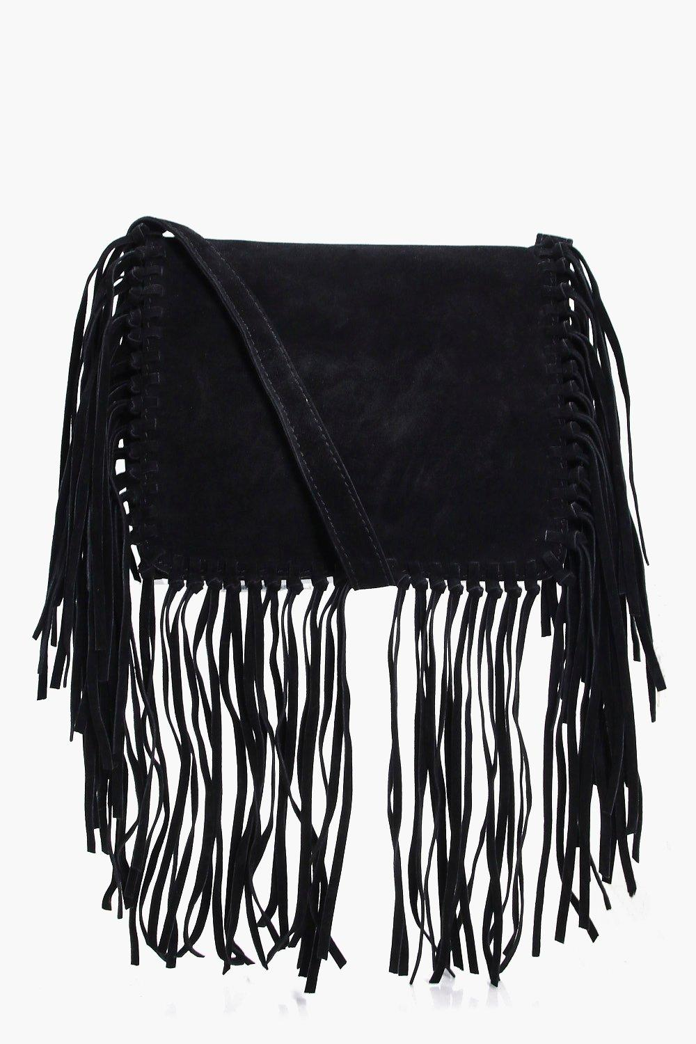 Fringed Detail Cross Body Bag - black - Sarah Frin