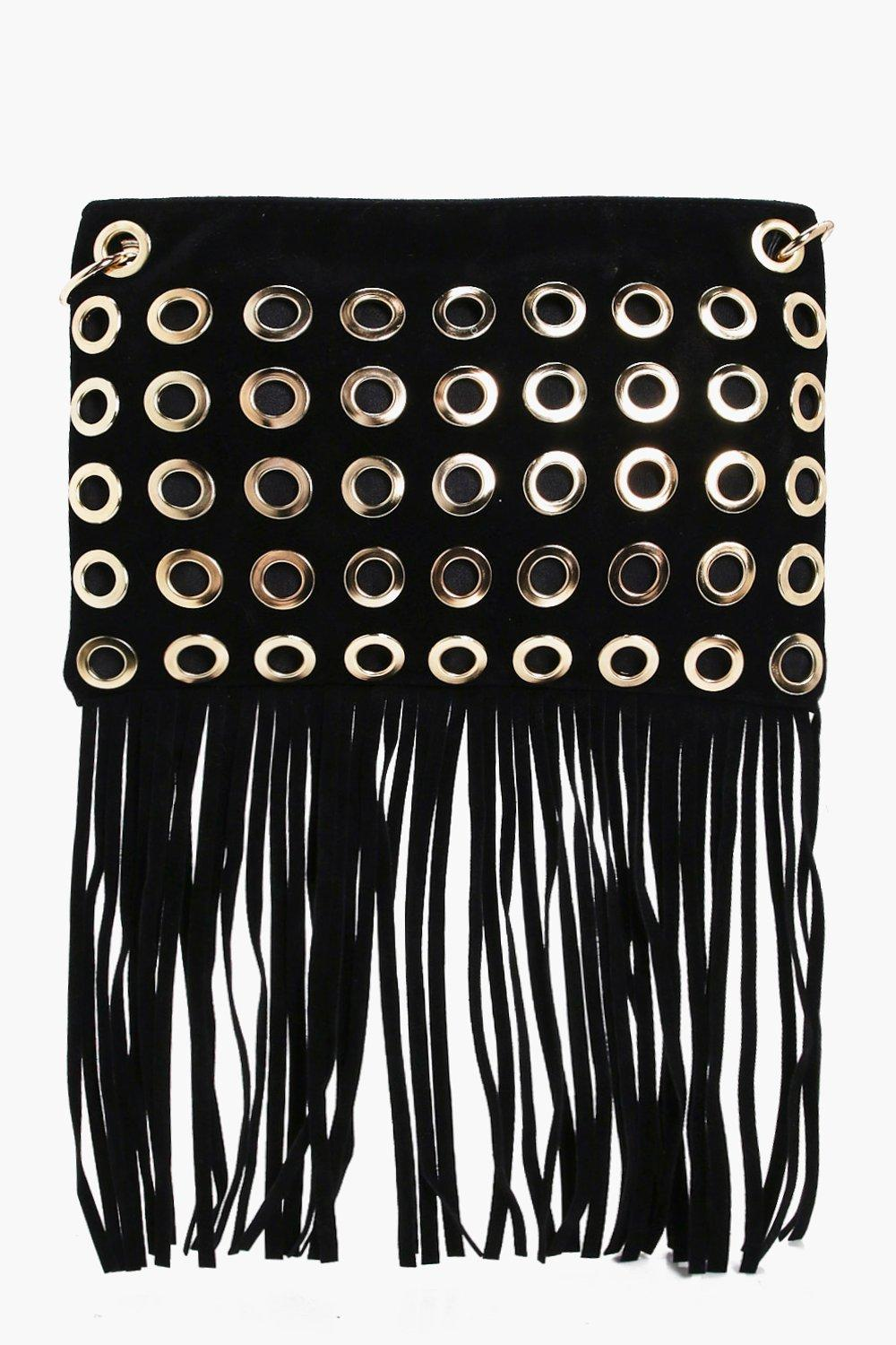 Eyelet Fringed Cross Body Bag - black - Rosie Eyel
