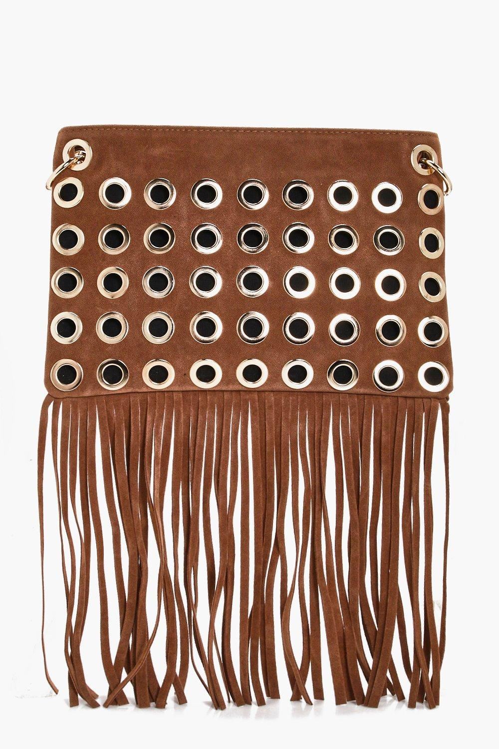 Eyelet Fringed Cross Body Bag - camel - Rosie Eyel