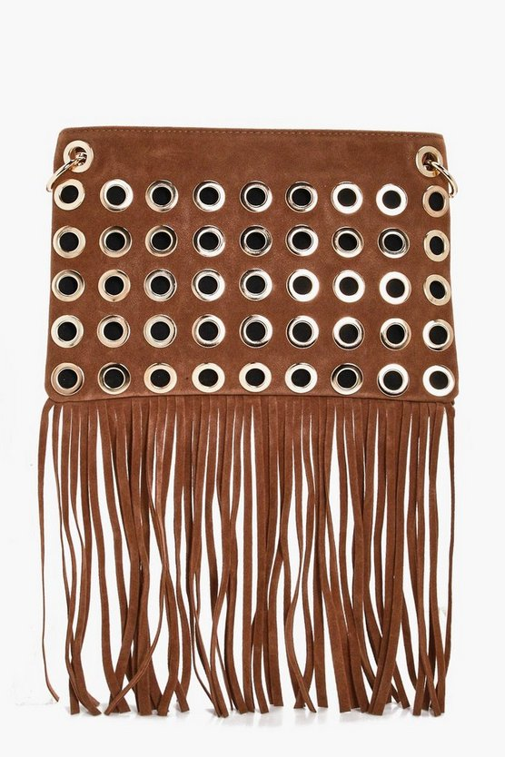 Rosie Eyelet Fringed Cross Body Bag