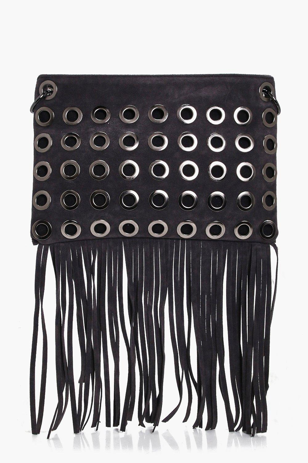 Eyelet Fringed Cross Body Bag - grey - Rosie Eyele