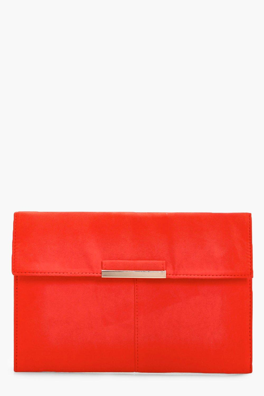 Suedette Coloured Clutch - coral - Yasmin Suedette