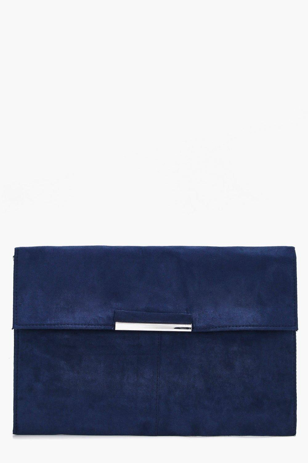 Suedette Coloured Clutch - blue - Kirsten Suedette