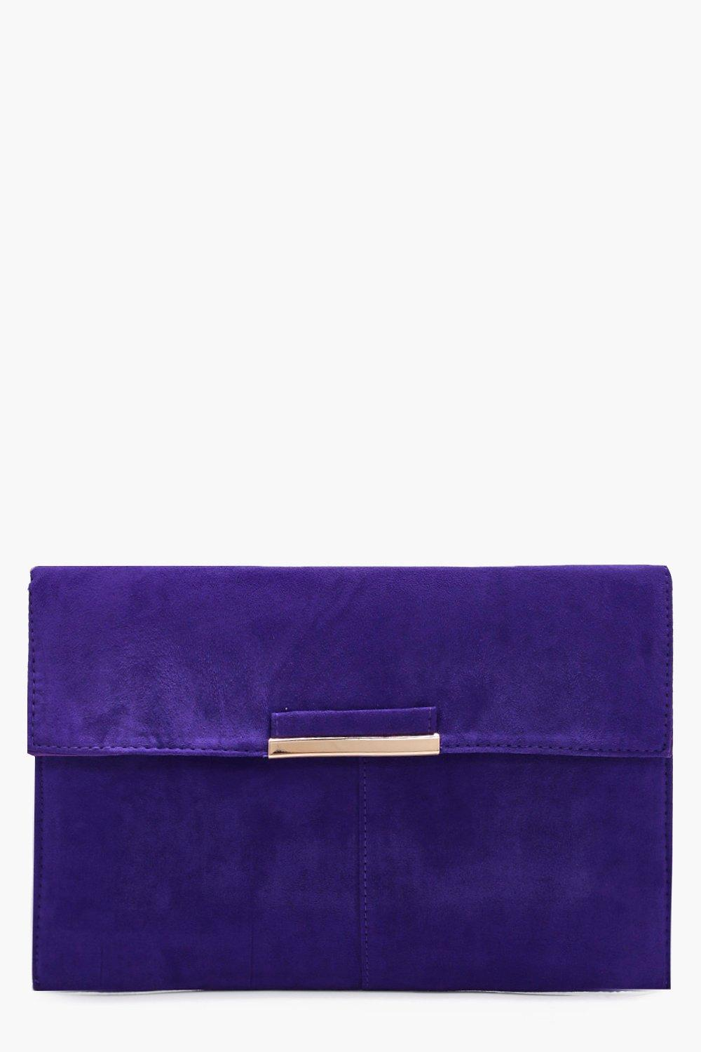 Suedette Coloured Clutch - purple - Kirsten Suedet