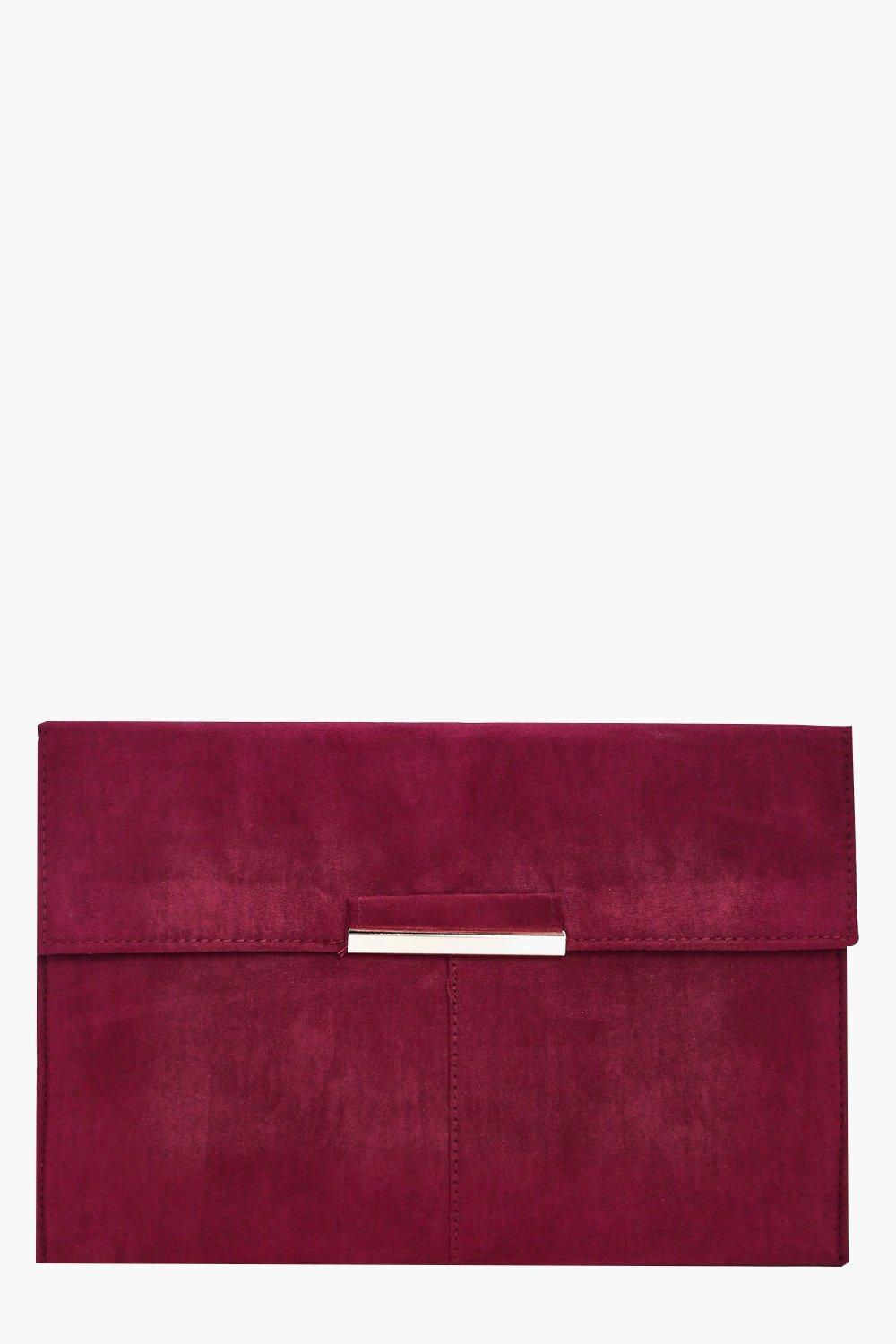 Suedette Coloured Clutch - wine - Kirsten Suedette