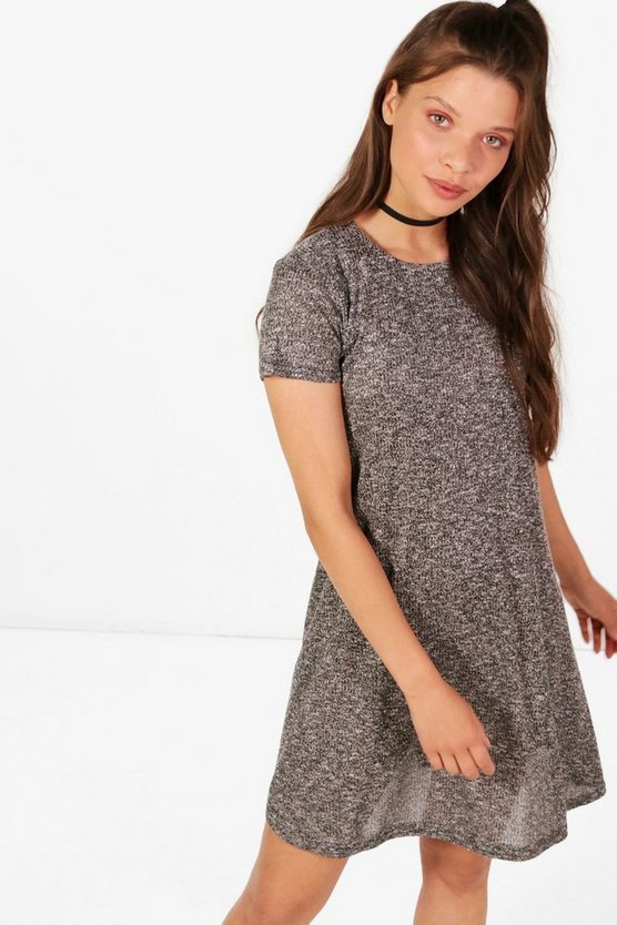 Caroline Marl Rib Knit Short Sleeve Swing Dress